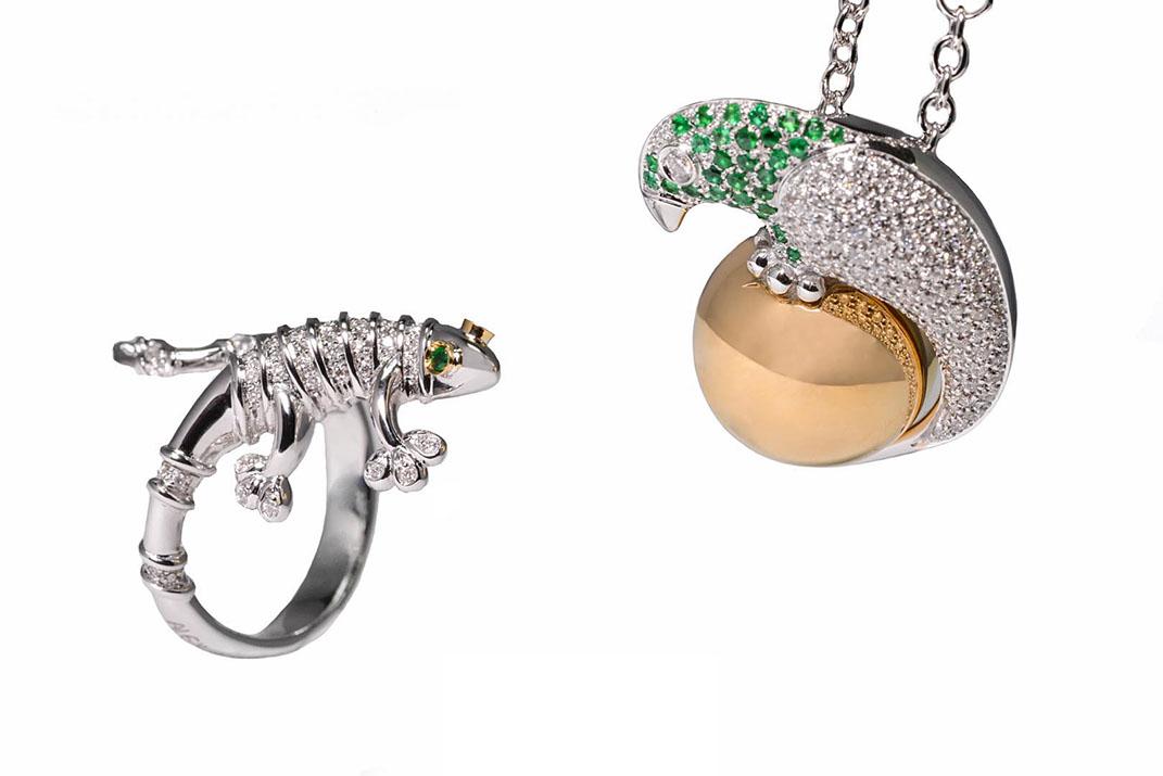 AlexBall-Primitiva-glamour-still-life-Geco4u-Pappaball-u85191-diamant-smaragd-halsketting-ring